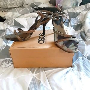 ASOS Camo mid heeled strappy sandal size 9